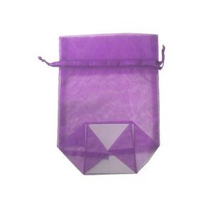 Large Gusseted Organza Mesh Bag w/ Satin Ribbon (Ultra Violet Purple) (9