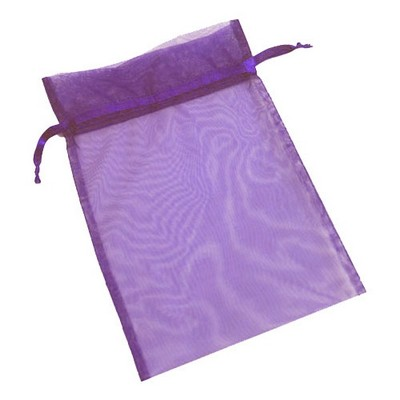 "Organza Sheer Nylon Mesh Bag w/ Satin Ribbon (5 1/2""x9"") (Ultra Violet Purple)"